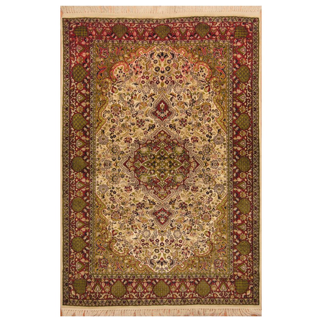 Hand Knotted Kashmiri Wool Silk Rug
