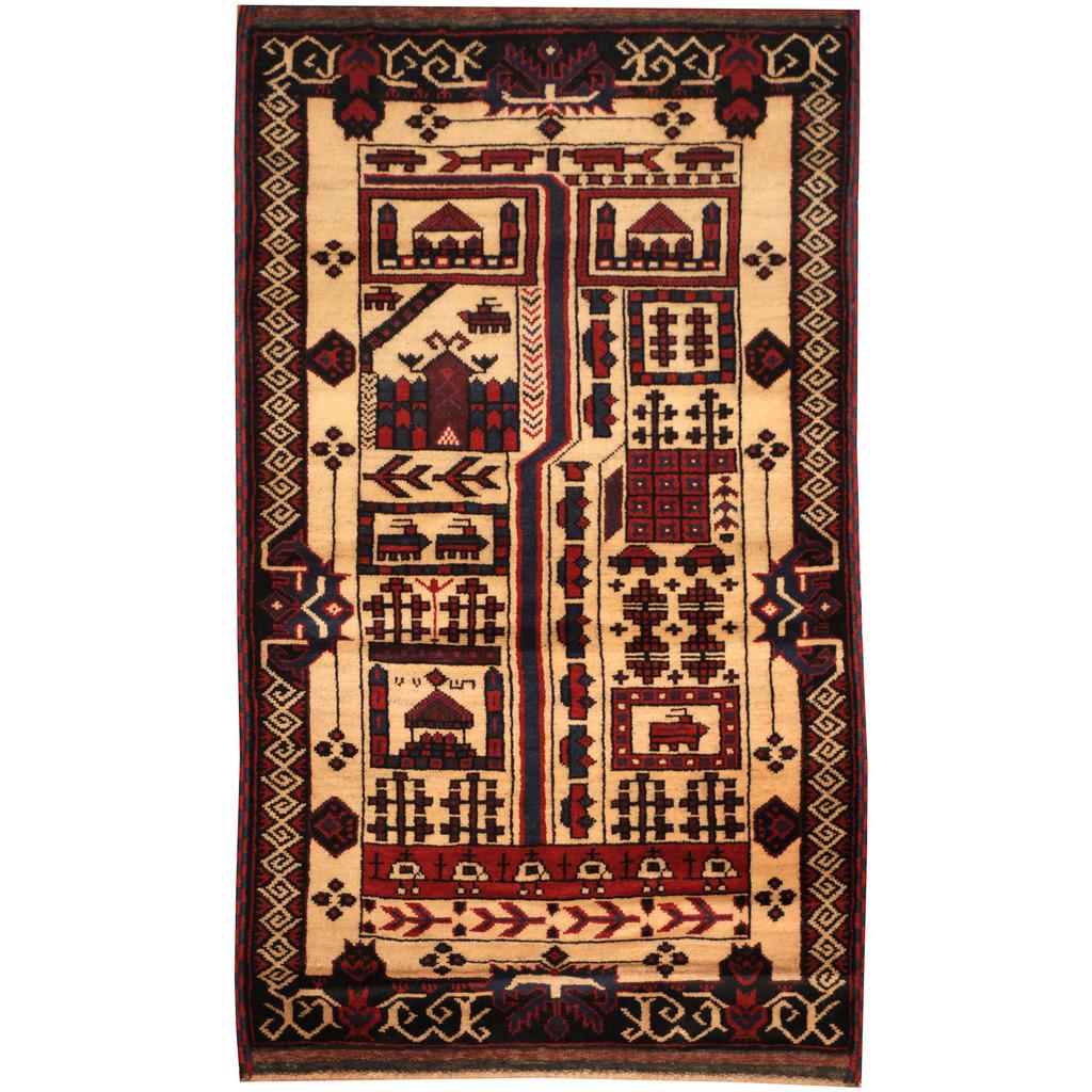 Afghan Hand Knotted Wool War Rug 3 X 5 2 Herat Oriental Rugs