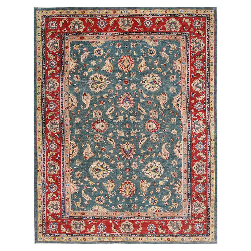 Afghan Hand Knotted Vegetable Dye Oushak Wool Rug 10 X 12 2