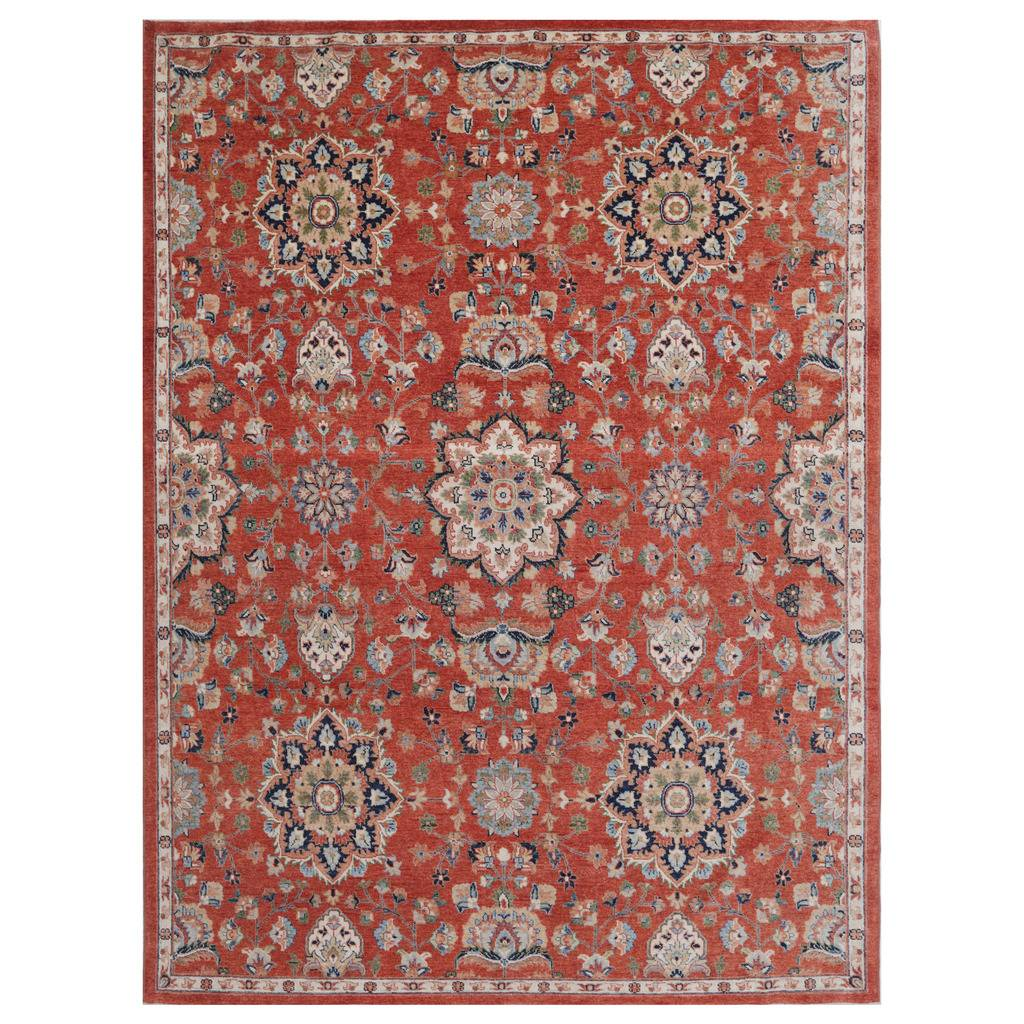 Afghan Hand-knotted Vegetable Dye Oushak Wool Rug (9'1 x 12'5)