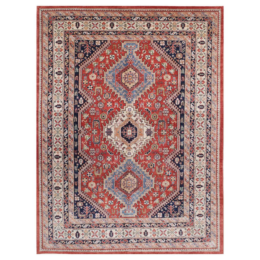 Afghan Hand Knotted Vegetable Dye Kazak Wool Rug 8 9 X 12 2
