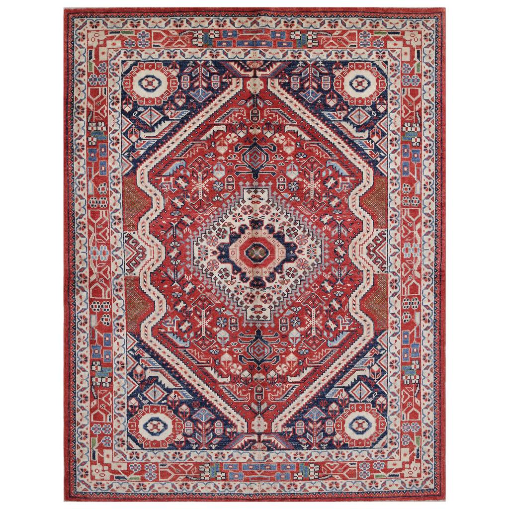 Afghan Hand-knotted Vegetable Dye Farahan Wool Rug (5′ x 6'5)
