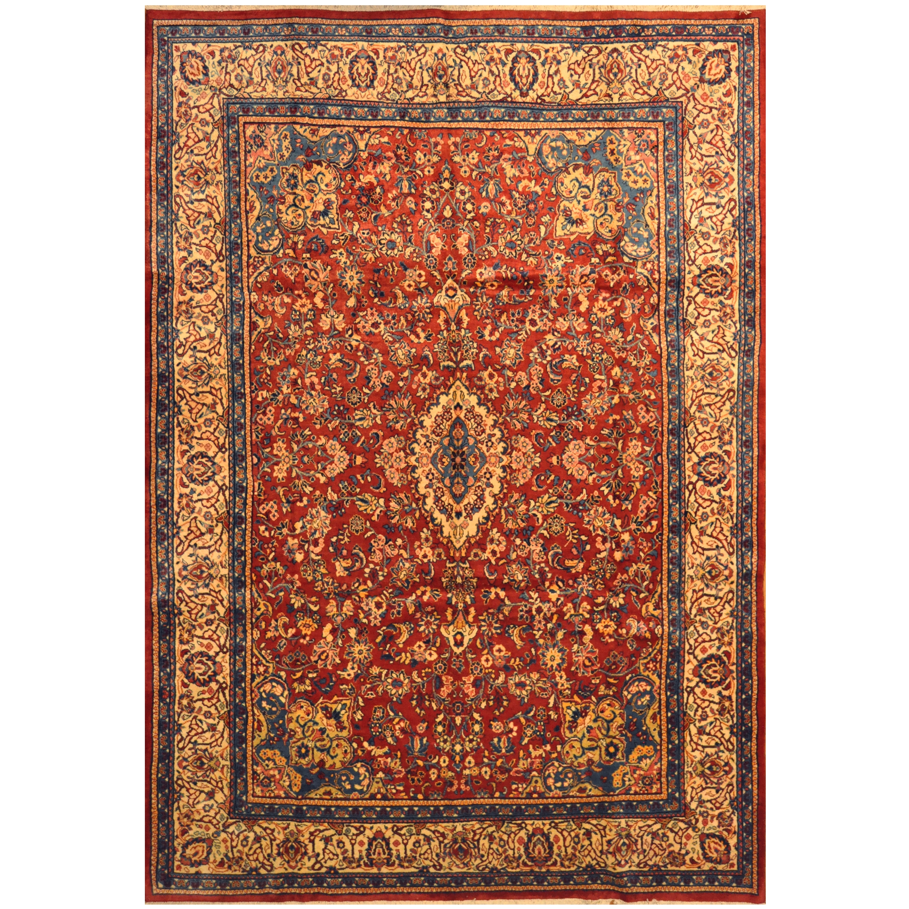 Persian Hand Knotted 1960 S Semi Antique Mahal Wool Rug 10 X 14