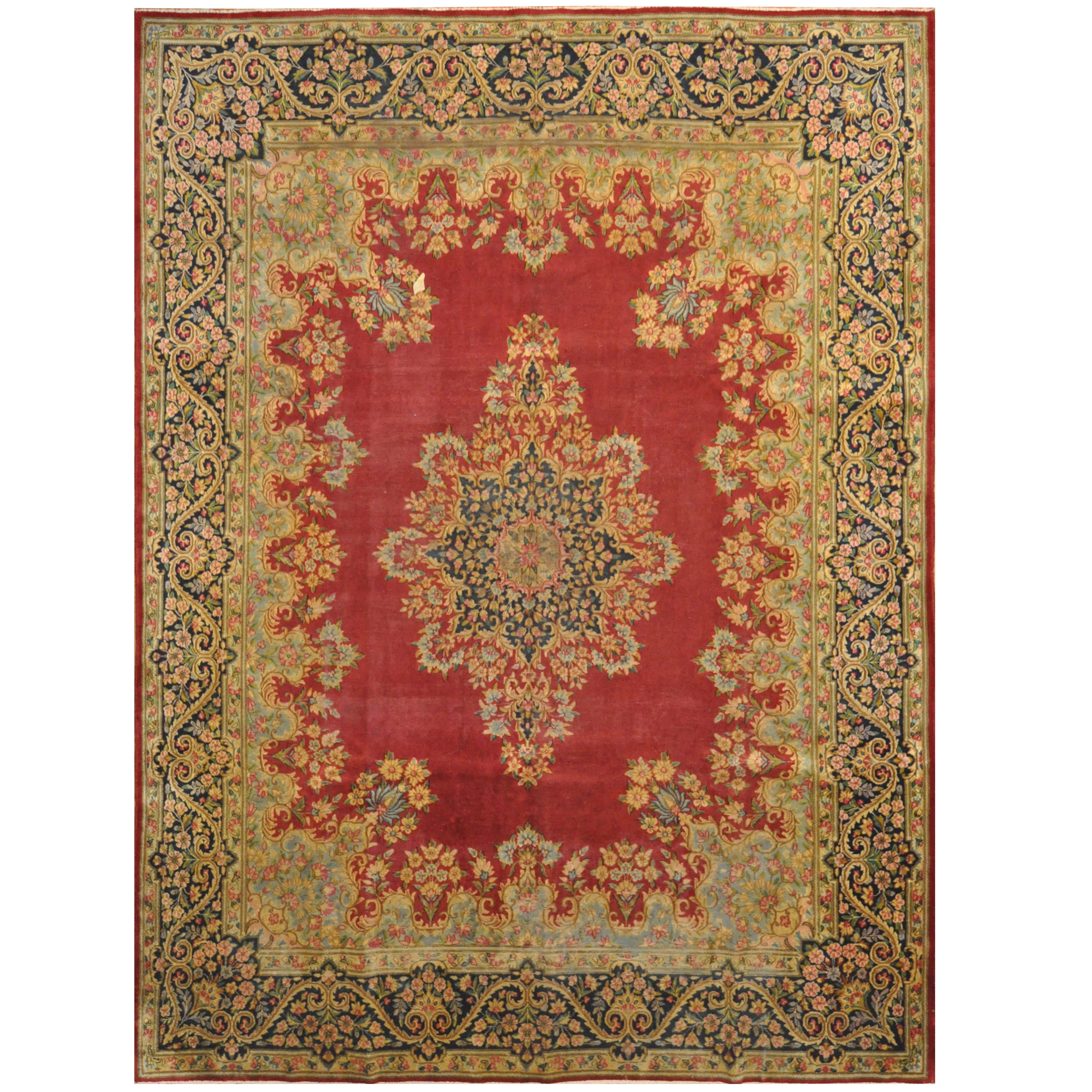 Hand Knotted 1920 S Semi Antique Kerman