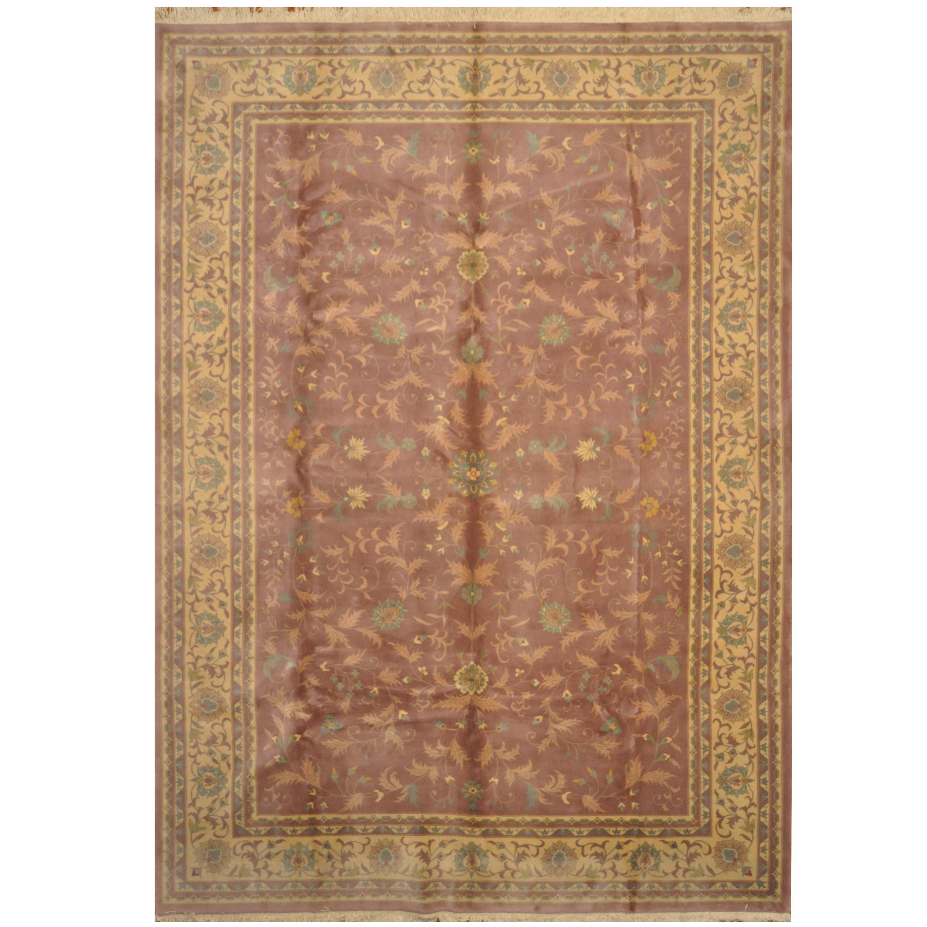 Indo Hand Knotted William Morris Wool Rug 10 X 14
